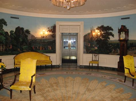 white house diplomatic room classical mural interior design 18th century blocked wallpaper