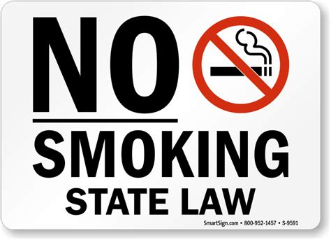 no smoking sign law no smoking labels no smoking state law sku s 9591
