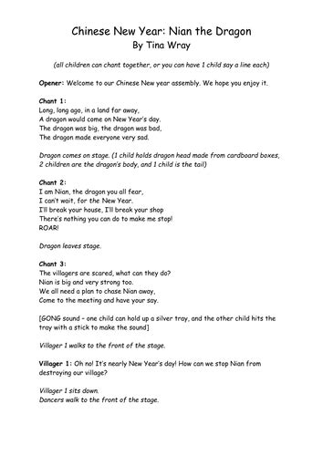 new year poems ks2 new year nian the poem assembly by