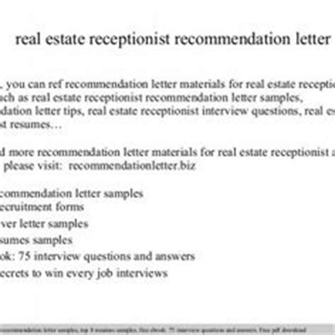 real estate receptionist cover letter sle letter of recommendation for a coworker