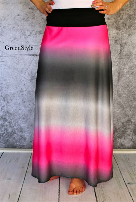 ombre maxi skirt a line style in pink grey and black by