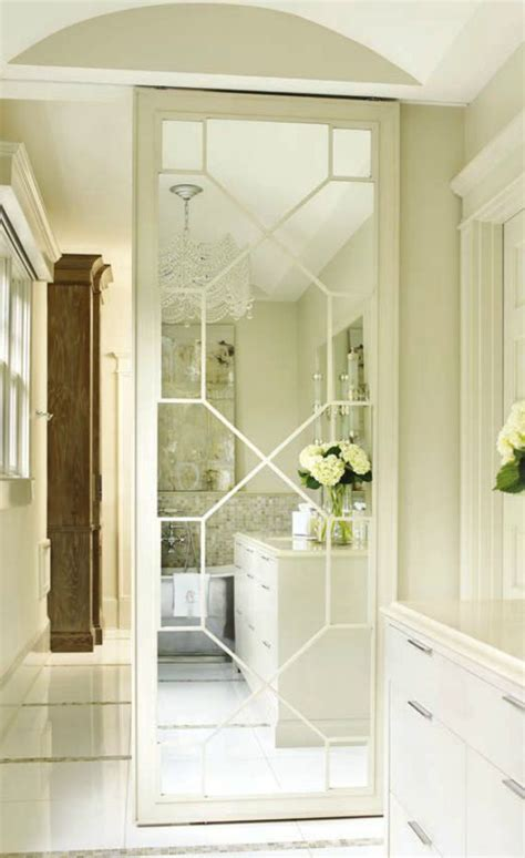 Mirrored Doors For Closet Mirrored Fret Door To Closet Bathroom Pinterest Track Door Pocket Doors And Sliding Doors