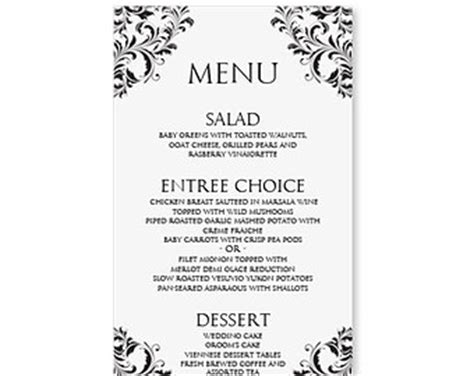 free wedding menu templates for microsoft word wedding menu card template instantly editable