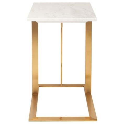 white and gold table c frame gold and white end table