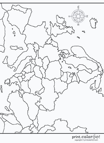 map of europe coloring page print color fun