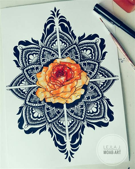 watercolor tattoo za mandala drawing geometric abstract