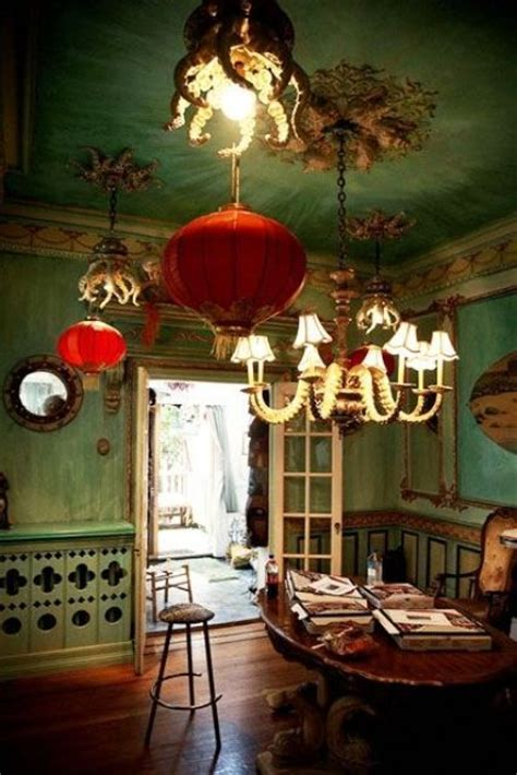 wonderful Vintage Living Room Ideas #2: 13-Pale-green-walls-with-red-Chinese-paper-lanterns-to-make-an-accent.jpg