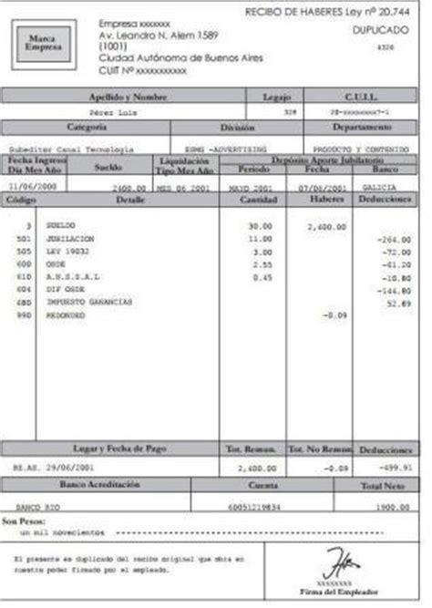recibo de sueldo provincia de corrientes requisitos obligatorios del recibo de sueldo