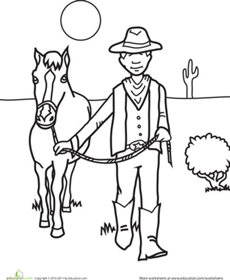 preschool rodeo coloring pages color the cowboy and his horse colors the cowboy and