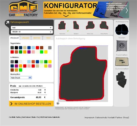 Auto Fußmatten Individuell Gestalten by Car Mats Factory Erklaerung Fu 223 Mattenkonfigurator