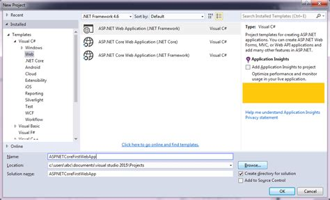 templates for visual studio 2015 how to install asp net core and create your first application