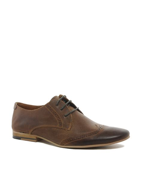 river island shoes river island leather brogue shoes in brown for lyst