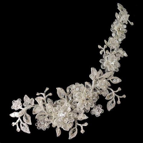 lace applique ivory lace rhinestone bridal applique