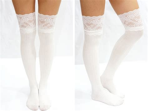 thigh lace knit knee high socks boot socks white on luulla