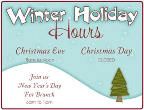 Winter Holiday Hours Flyer Restaurant Flyer Closure Flyer Template