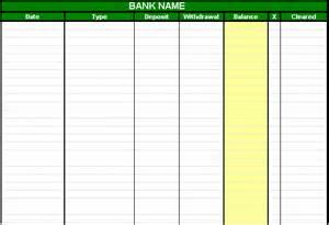 checking account spreadsheet