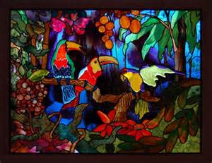 stained glass art window tropical parrot color jungle