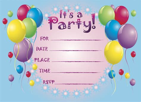 printable birthday party invitation cards printable birthday party invitations for kids new party