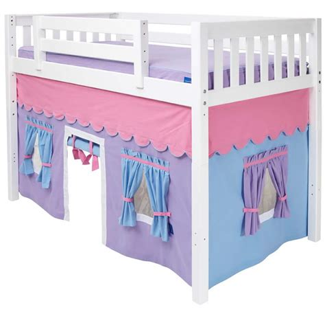 Purple Bunk Bed Mid Loft Bed With Tent By Maxtrix Purple Blue Pink On White 400 1