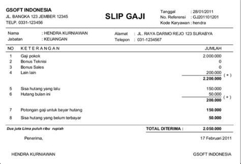 kumpulan contoh slip gaji karyawan pegawai contoh slip gaji pns hontoh