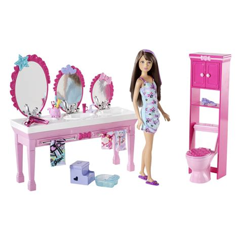 barbie doll bathroom barbie toys sisters beauty fun bathroom and skipper doll