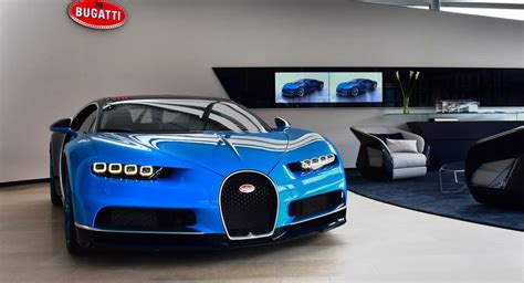 bugatti showroom chiron proudly sits in redesigned bugatti zurich showroom