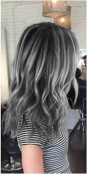 silver highlighted hair styles charcoal base with silver highlights silver highlights