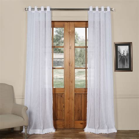 120 inch linen curtains aspen white grommet solid faux linen 50 x 120 inch sheer
