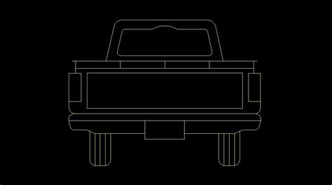 pickup truck vehicles rear  view elevation  dwg