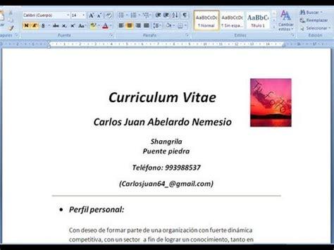 como hacer un curriculum vitae en microsoft word 2010 como hacer un curriculum vitae facil y rapido en 5