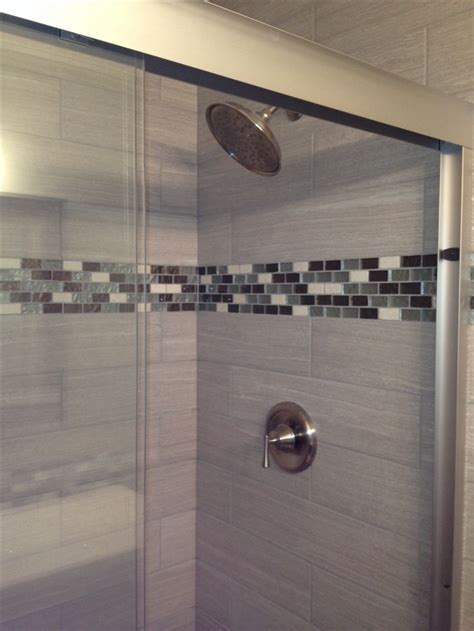 tile accent wall bathroom leonia silver 6x24 tile for shower walls glass tile