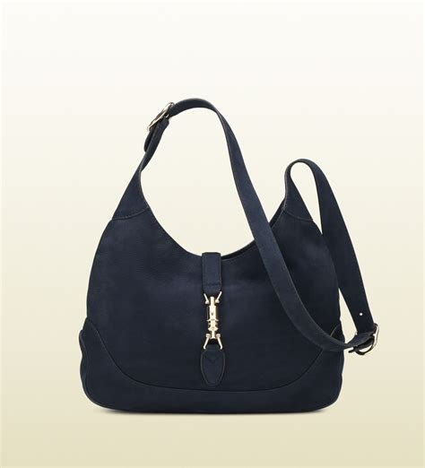 Gucci Ns Leather Blue lyst gucci jackie blue nubuck leather shoulder bag in blue