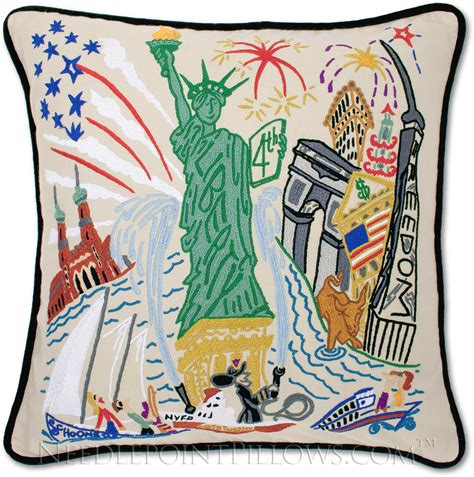 Catstudio Pillow Sale by Catstudio Handmade Statue Of Liberty Embroidered Pillow