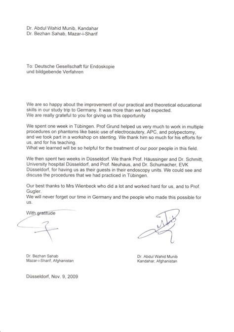 Research Visit Letter Wienbeck Foundation Doctors Visiting Europe