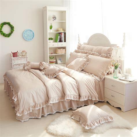 cream ruffle bedding romantic cream colored purple powder falbala ruffle lace