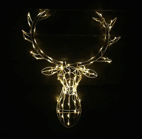 reindeer head outdoor light decoration by red lilly