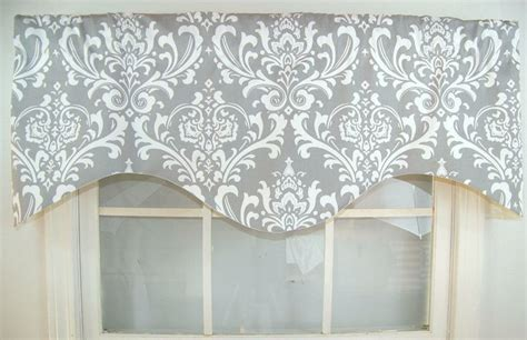 Pink And Grey Valance Ozzy Damask Shaped Valance In Grey Navy Or Black By