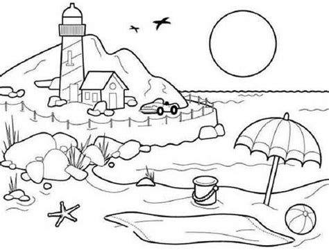 scenery coloring pages printable bing images beach