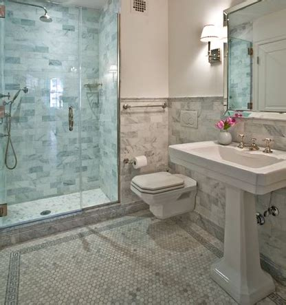 marble and subway tile bathroom floating toilet transitional bathroom anne chessin