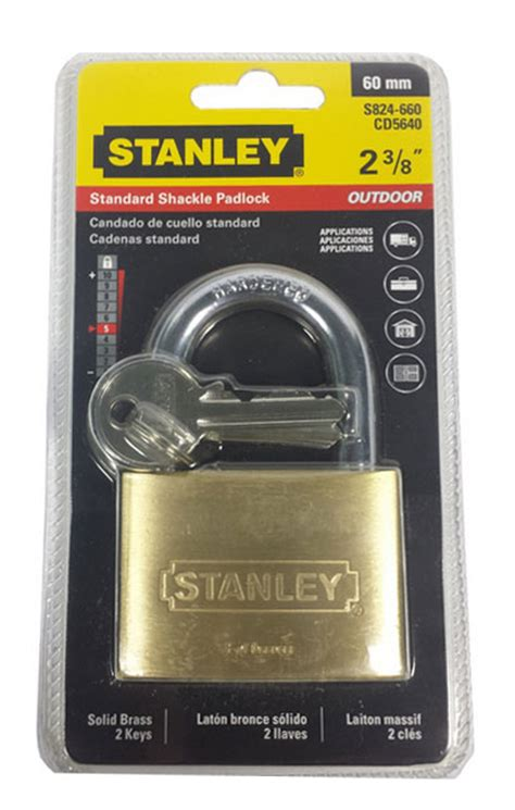stanley standard shackle padlock 60mm brass mj hub pte ltd