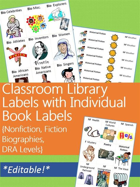 printable genre labels for classroom library classroom library labels with matching individual book