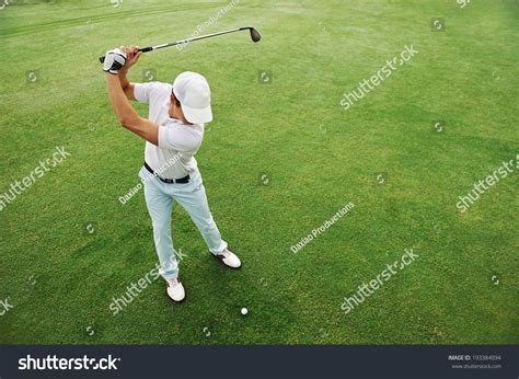 golf swing overhead view high overhead angle view golfer hitting stock photo