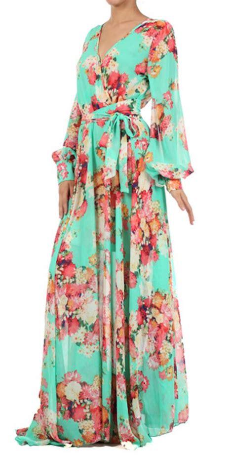 denna maxy dress mint green floral faux wrap sleeve maxi dress nwot