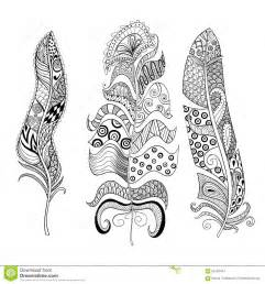 zentangle stylized elegant feathers set hand drawn