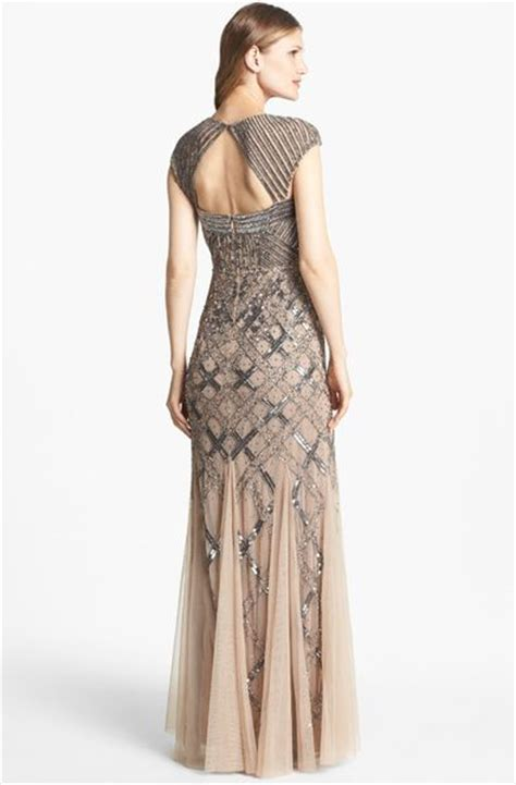 adrianna papell embellished draped mesh gown adrianna papell embellished mesh mermaid gown in silver