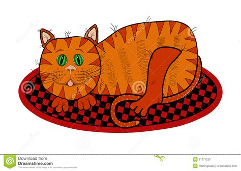 White Oval Rug Cat Lying On A Rug Royalty Free Stock Photo Image 31071225
