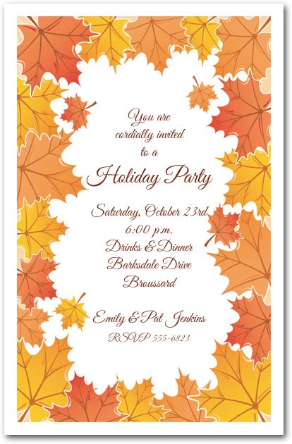 Fall Theme Wedding Invitations by Tangerine Fall Leaves Invitations Autumn Invitations