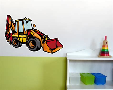 kinderzimmer deko bagger wandtattoo baggerlader als kinderzimmer deko kiddikiste