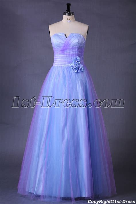 Blue Long Quinceanera Dresses for Plus Size Girls:1st dress.com