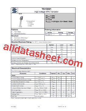 datasheet of transistor 13001 ts13001 datasheet pdf taiwan semiconductor company ltd